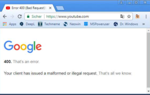 YouTube Error 400 web